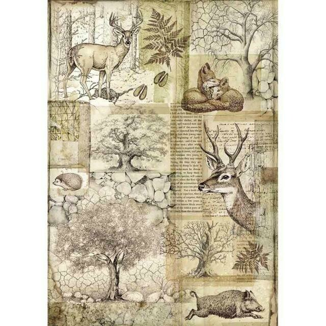 Forest Deer and Wild Boar A4 Rice Paper - Stamperia
