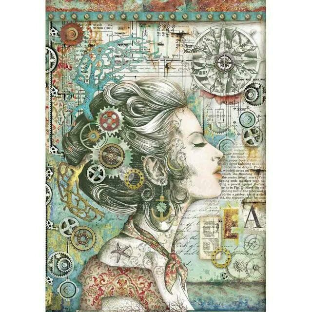 Sea World Lady With Compass A4 Rice Paper - Stamperia