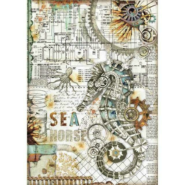 Sea World Seahorse A4 Rice Paper - Stamperia