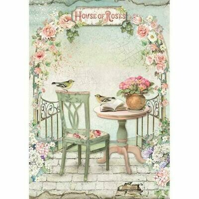 House of Roses Gazebo A4 Rice Paper - Stamperia
