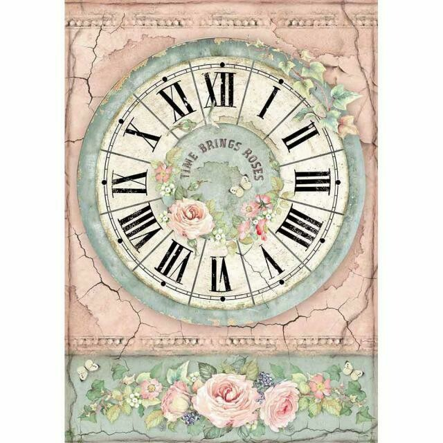 House of Roses Clock A4 Rice Paper - Stamperia
