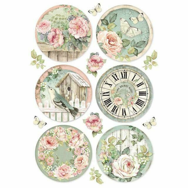 House of Roses Round Clocks A4 Rice Paper - Stamperia