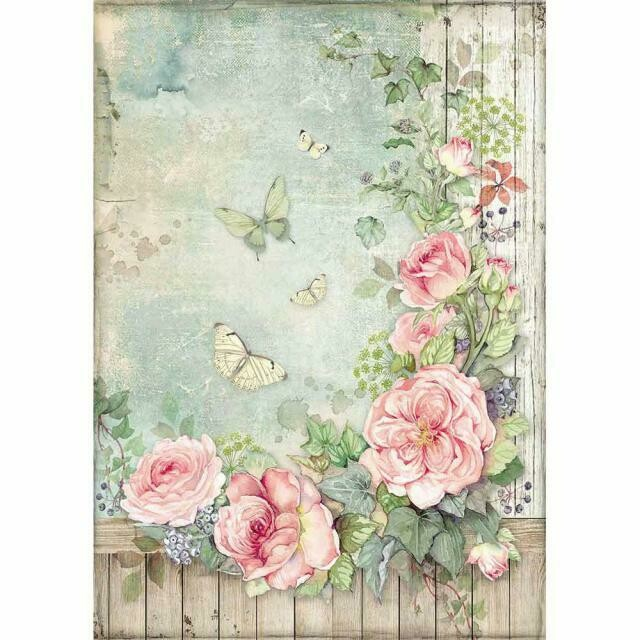 House of Roses Rose Garden with Fence A4 Rice Paper - Stamperia