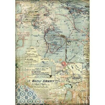 Maps A4 Rice Paper - Stamperia