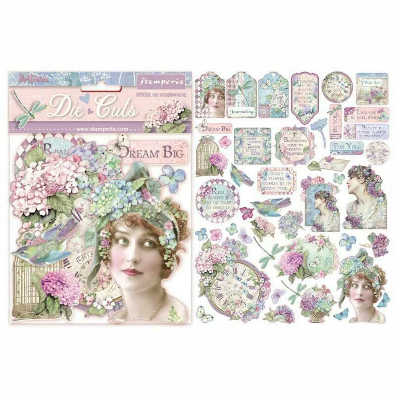Hortensia Assorted Die Cut Pieces - Stamperia
