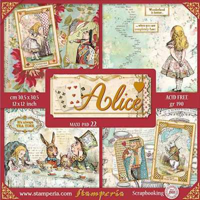 NEW Alice Gold 12x12 Maxi Paper Pad - Stamperia