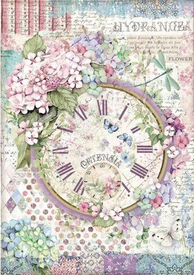 Clock - Hortensia Collection - A4 Rice Paper - Stamperia