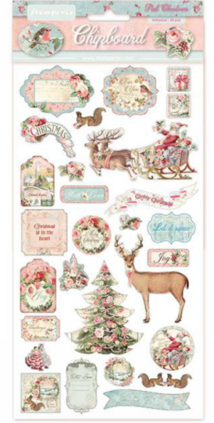 Pink Christmas Chipboard - Stamperia