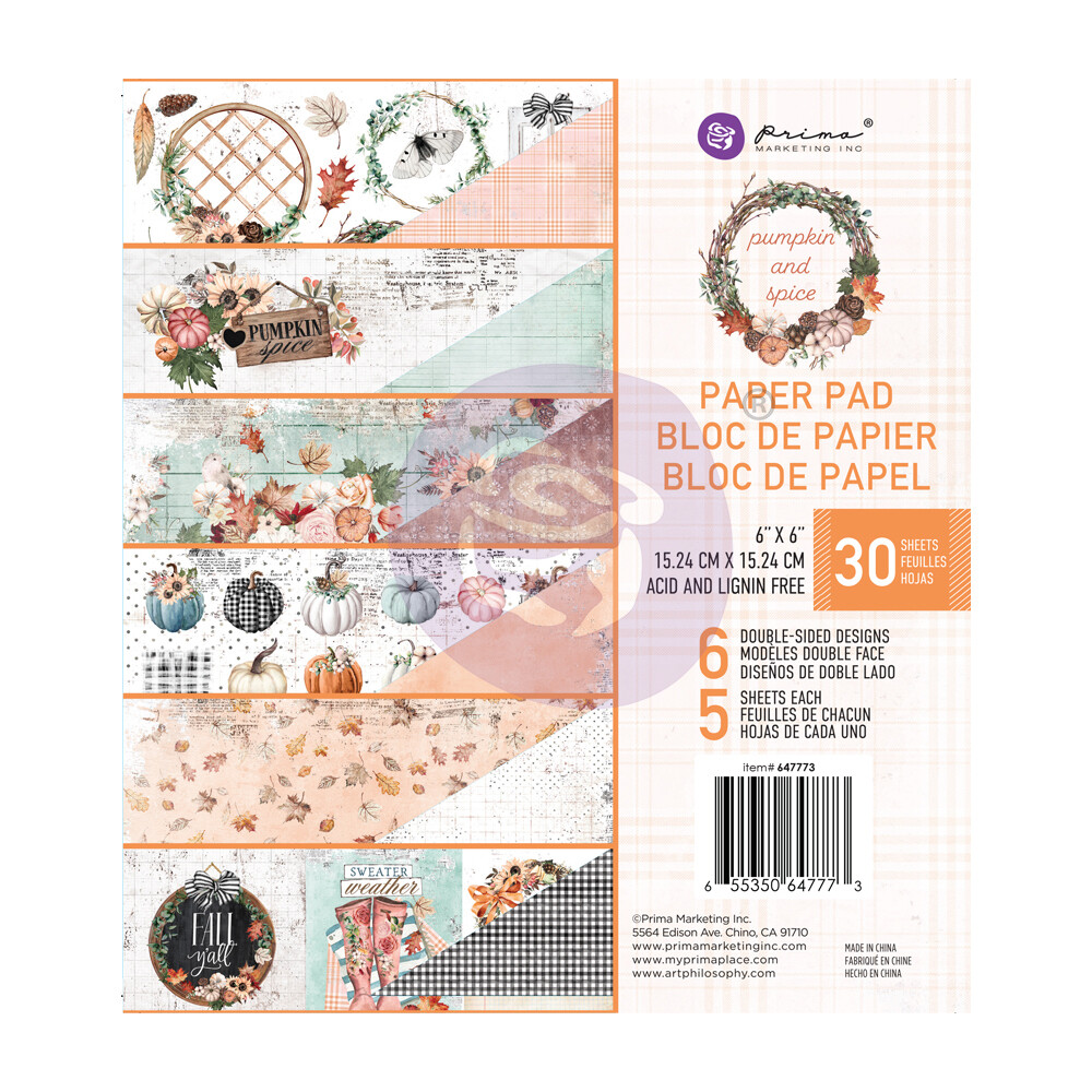 Pumpkin & Spice - 6x6 Paper Pad - Prima Marketing