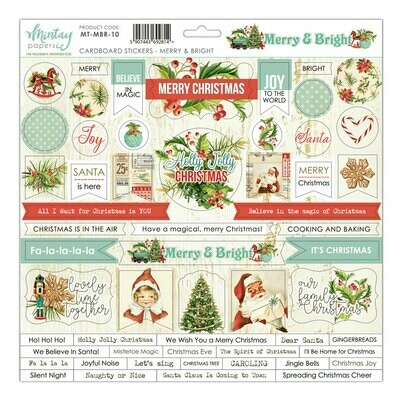 Merry & Bright Chipboard Stickers - Mintay by Karola