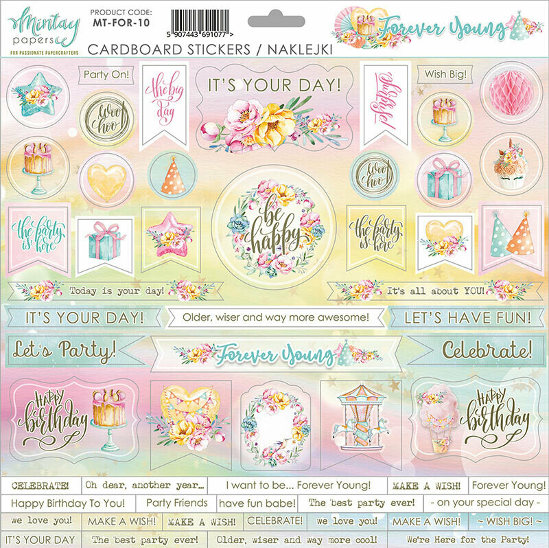 Forever Young Chipboard Stickers - Mintay by Karola