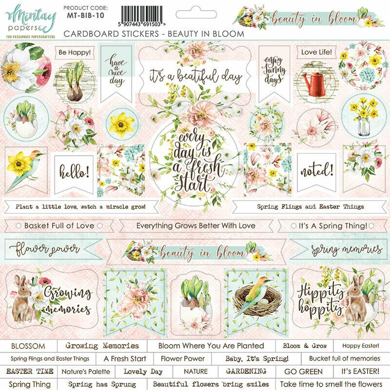 Beauty in Bloom Chipboard Stickers - Mintay by Karola