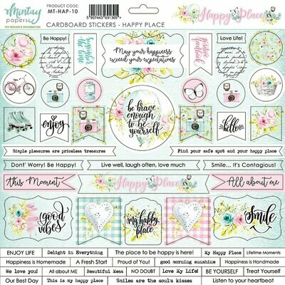 Happy Place Chipboard Stickers - Mintay by Karola