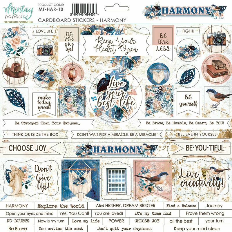 Harmony Chipboard Stickers - Mintay by Karola
