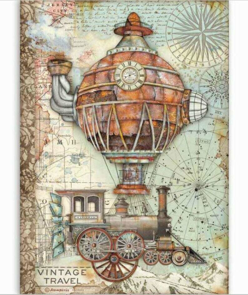 Vintage Travel - Sir Vagabond Collection - A4 Rice Paper - Stamperia