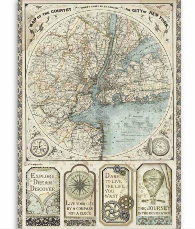 Map of New York - Sir Vagabond Collection - A4 Rice Paper - Stamperia