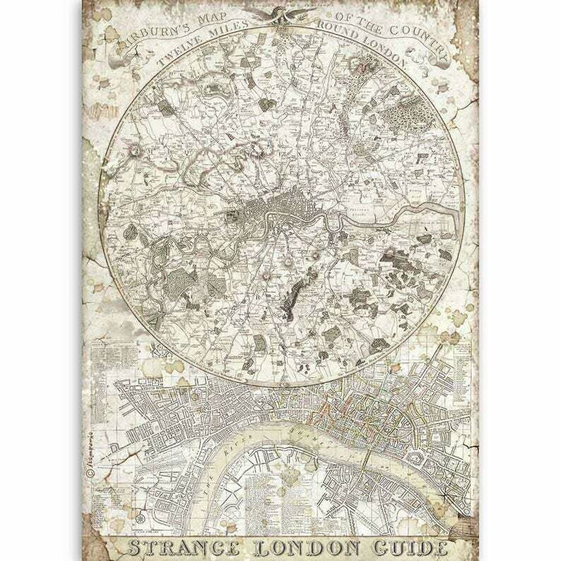 Strange London Guide - Lady Vagabond Collection - A4 Rice Paper - Stamperia