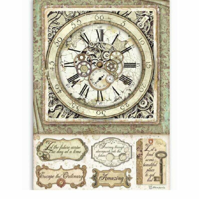 Clock w/ Mechanisms - Lady Vagabond Collection - A4 Rice Paper - Stamperia