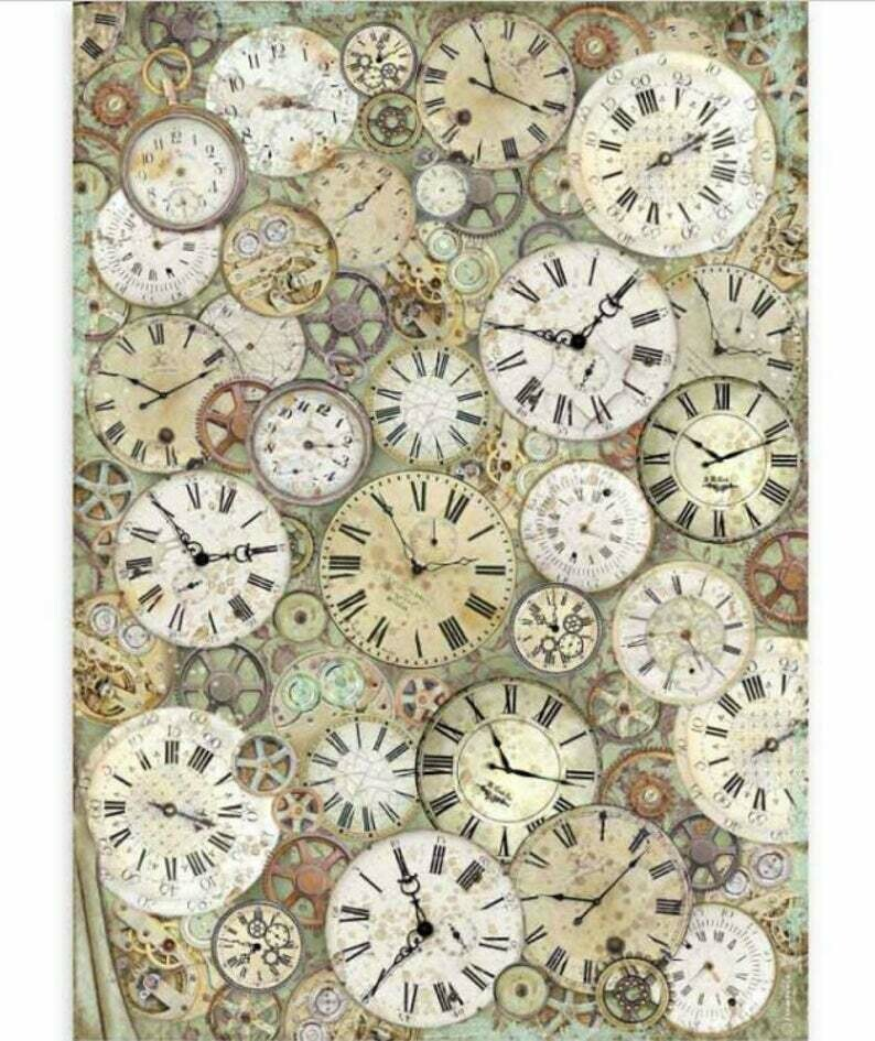 Clock and Mechanisms - A3 Rice Paper - Lady Vagabond - Stamperia