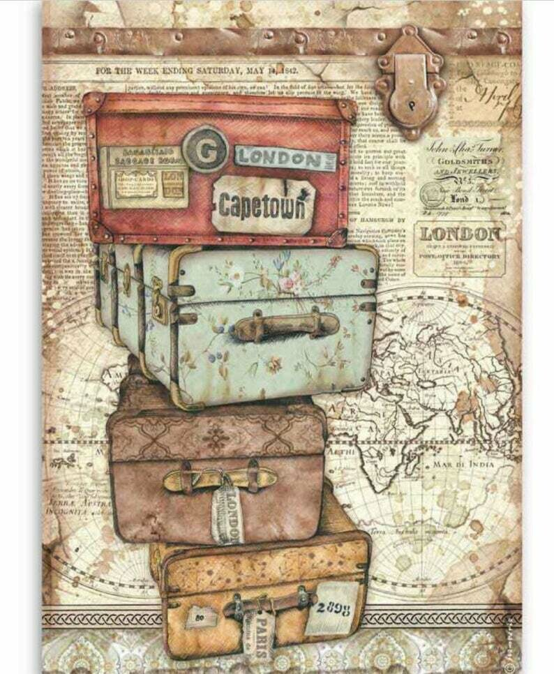 Luggage - Lady Vagabond Collection - A4 Rice Paper - Stamperia