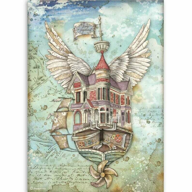 Flying Ship - Lady Vagabond Collection - A4 Rice Paper - Stamperia