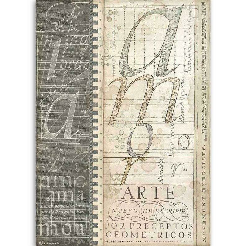 Alphabet - Calligraphy Collection - A4 Rice Paper - Stamperia