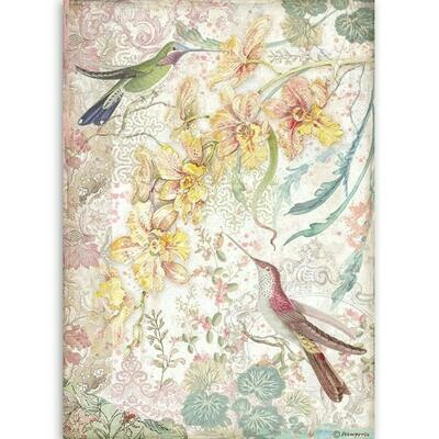 Yellow Orchids and Birds - Orchids and Cats - A4 Rice Paper - Stamperia