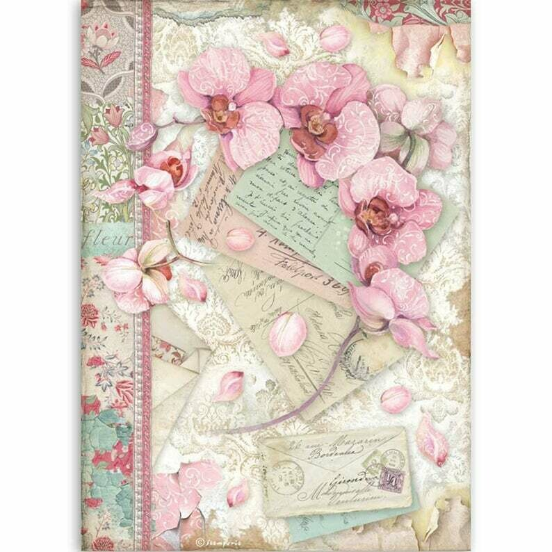 Pink Orchid - Orchids and Cats - A4 Rice Paper - Stamperia