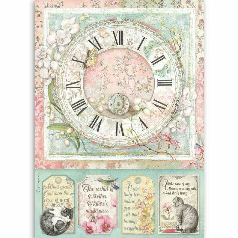 Clock - Orchids and Cats - A4 Rice Paper - Stamperia