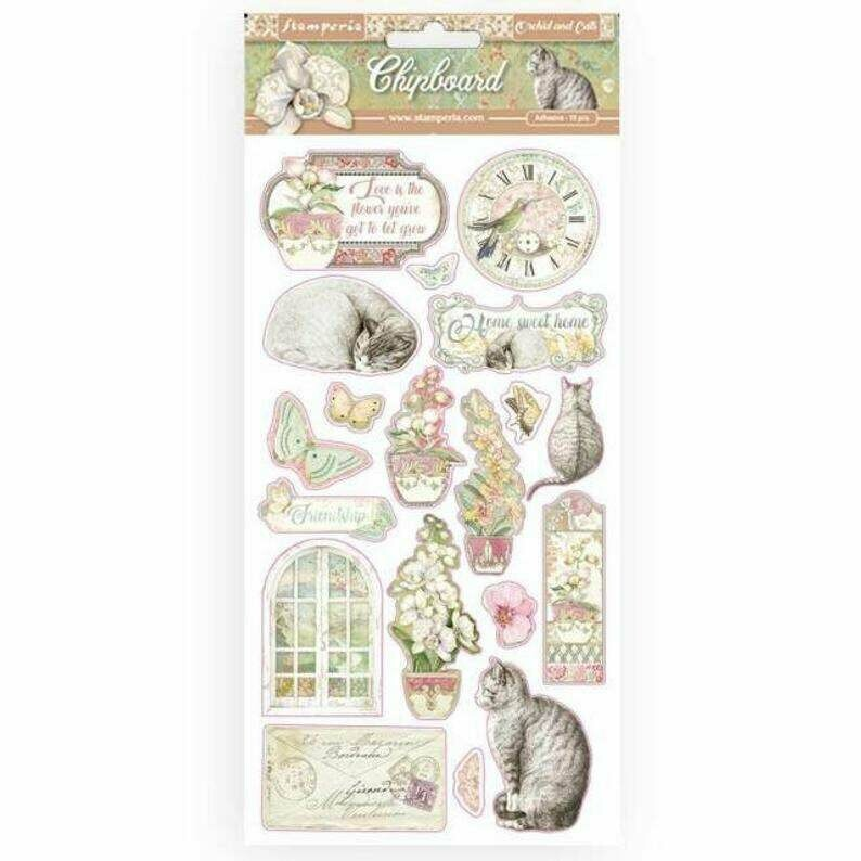 Orchids and Cats Chipboard - Stamperia