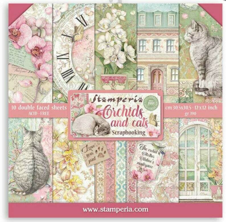 Orchids and Cats 12x12 Paper Pad - Stamperia