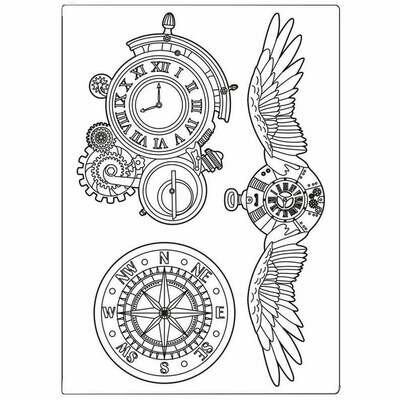 Clocks and Wings Silicone Mould - Sir Vagabond Collection - Stamperia