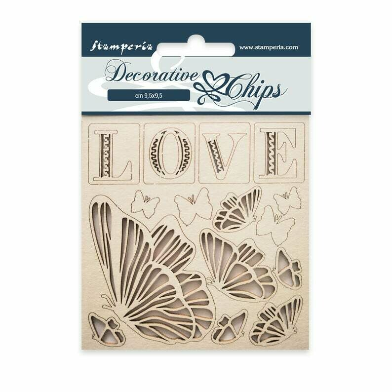 Love Decorative Chips - Orchid and Cats Collection - Stamperia