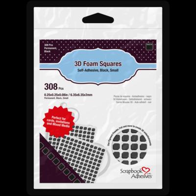 3D Foam Squares Black Small Size  - 308 Pieces
