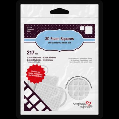 3D Foam Squares White Mix  - 217 Pieces