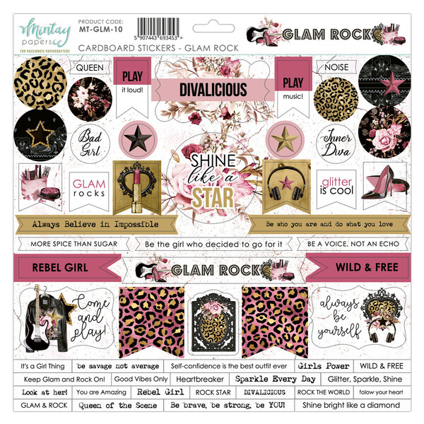 Glam Rock Chipboard Stickers - Mintay by Karola