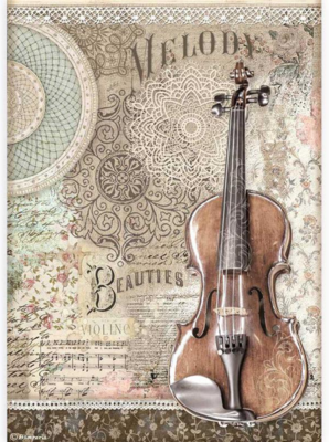 Violin A4 Rice Paper - Passion Collection - Stamperia