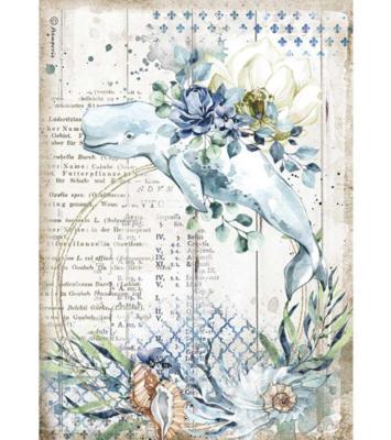 Whale A4 Rice Paper - Romantic Sea Dream Collection - Stamperia