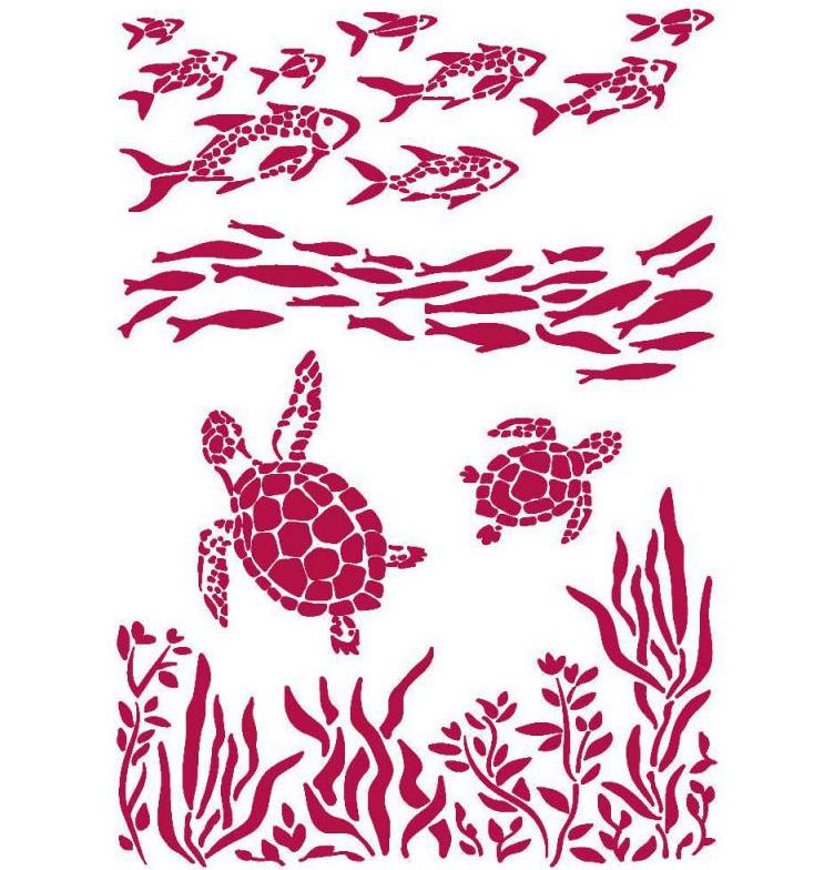 Fish and Turtles Stencil - Romantic Sea Dream Collection - Stamperia