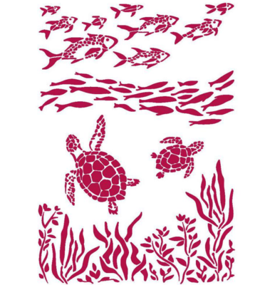 Fish and Turtles Stencil - Romantic Sea Dream Collection - Stamperia