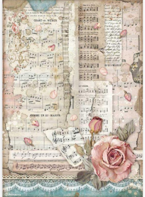 Roses and Music A4 Rice Paper - Passion Collection - Stamperia