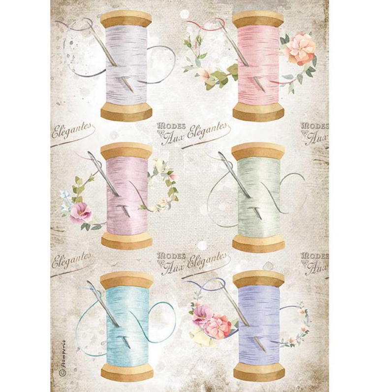 Needle and Thread A4 Rice Paper - Romantic Threads Collection - Stamperia