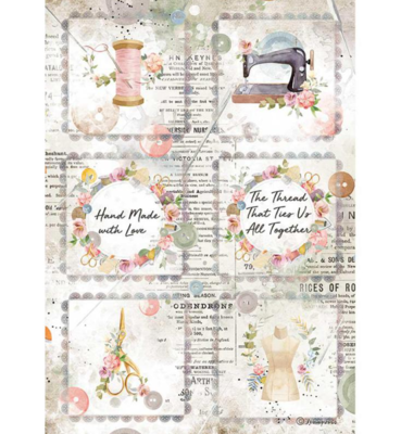 Mini Cards A4 Rice Paper - Romantic Threads Collection - Stamperia