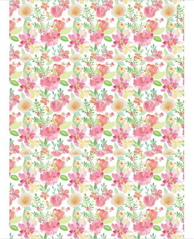 Aquerel Flower A4 Rice Paper - Circle of Love Collection - Stamperia