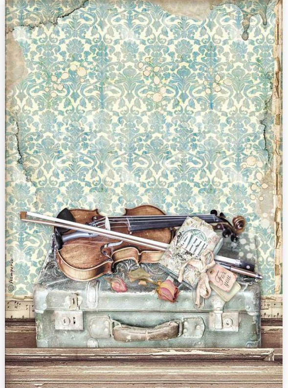 Violin and Traveling A4 Rice Paper - Passion Collection - Stamperia