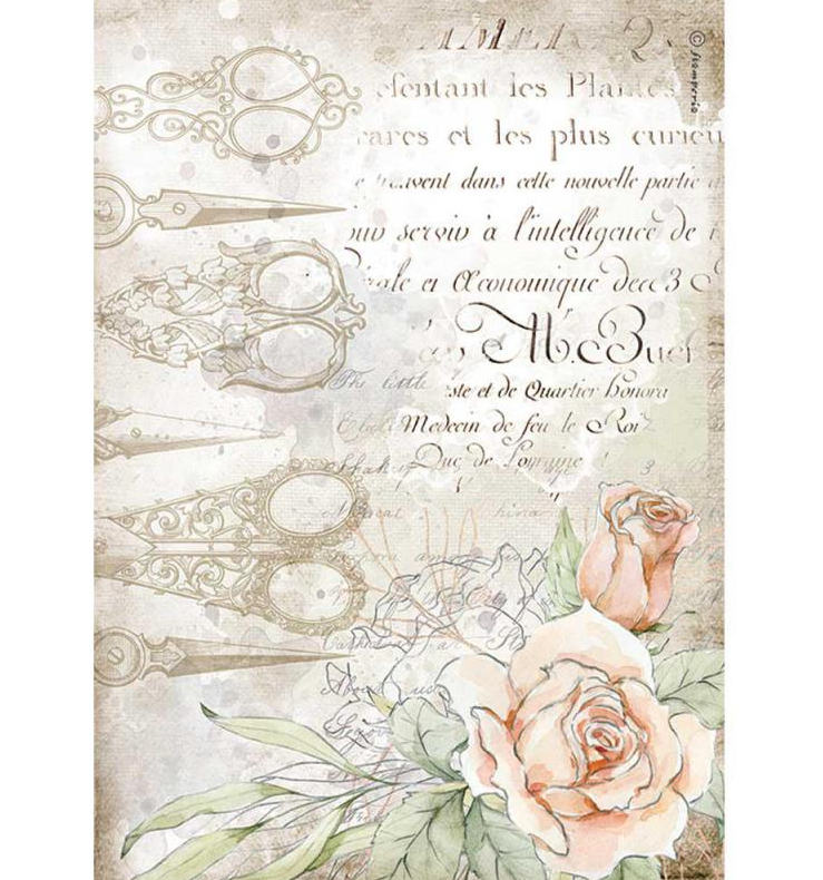 Scissors and Roses A4 Rice Paper - Romantic Threads Collection - Stamperia