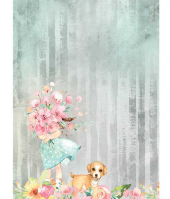 Bouquet and Dog A4 Rice Paper - Circle of Love Collection - Stamperia