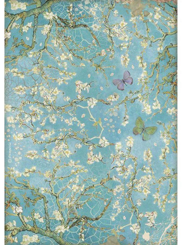 Blue Background w/ Butterfly A4 Rice Paper - Atelier Des Arts Collection - Stamperia