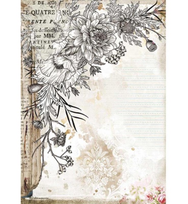 Stylized Flower A4 Rice Paper - Romantic Journal Collection - Stamperia