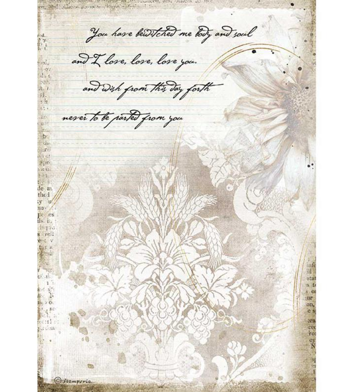 Manuscript A4 Rice Paper - Romantic Journal Collection - Stamperia